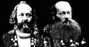 Bakunin a Kropotkin v parodickom zobrazení a lá punk