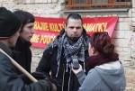 Protestujúci proti búraniu PKO Lukáš Perný a Tomáš Bóka pre agentúru SITA; foto:  Jozef Šolc