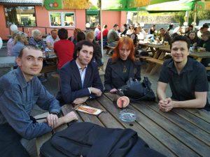 Tomaš Vokoun, Anička Mikulenková, Lukáš Perný, Adam Votruba po konferencii Ceres